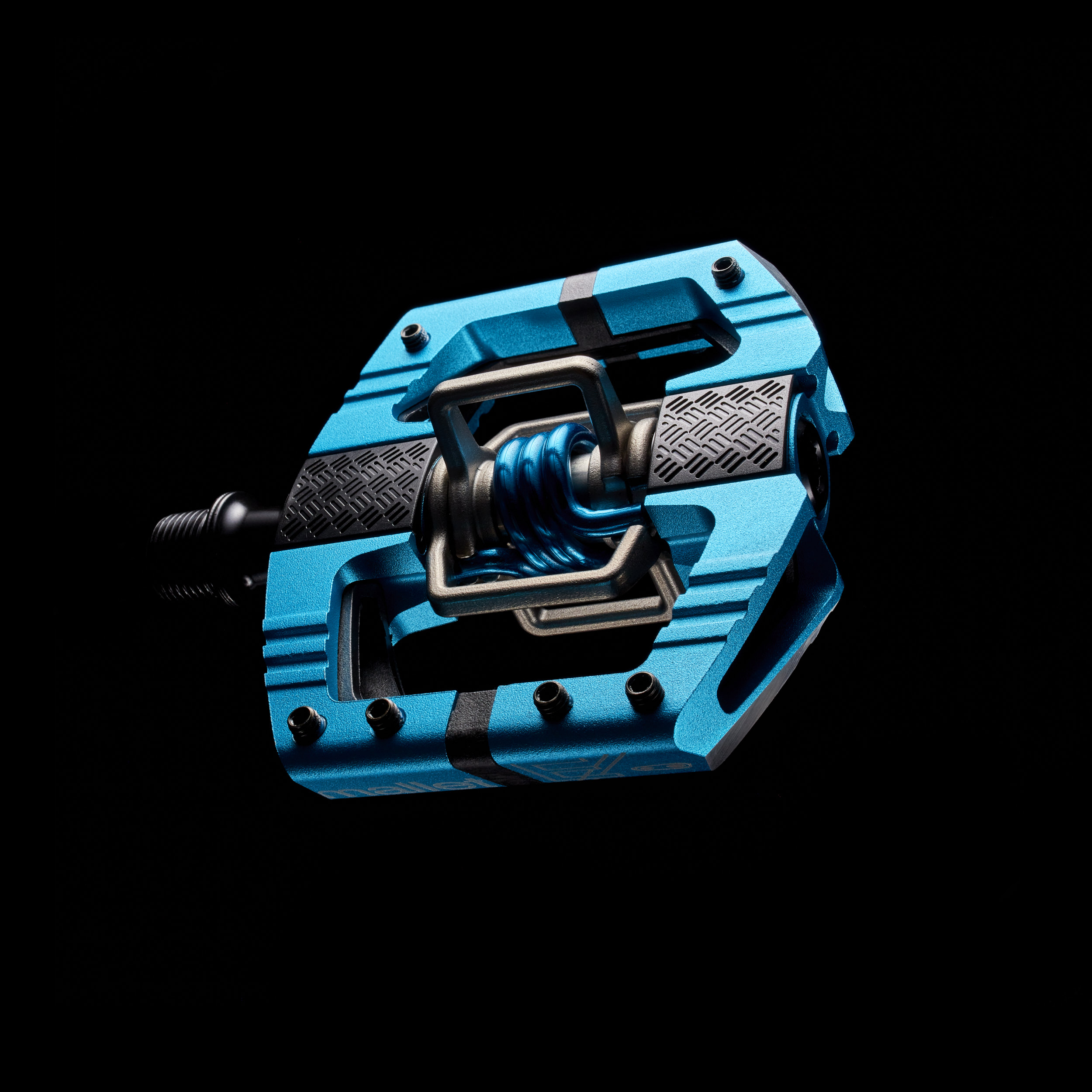 Crank Brothers Mallet Pedal with black background in studio.