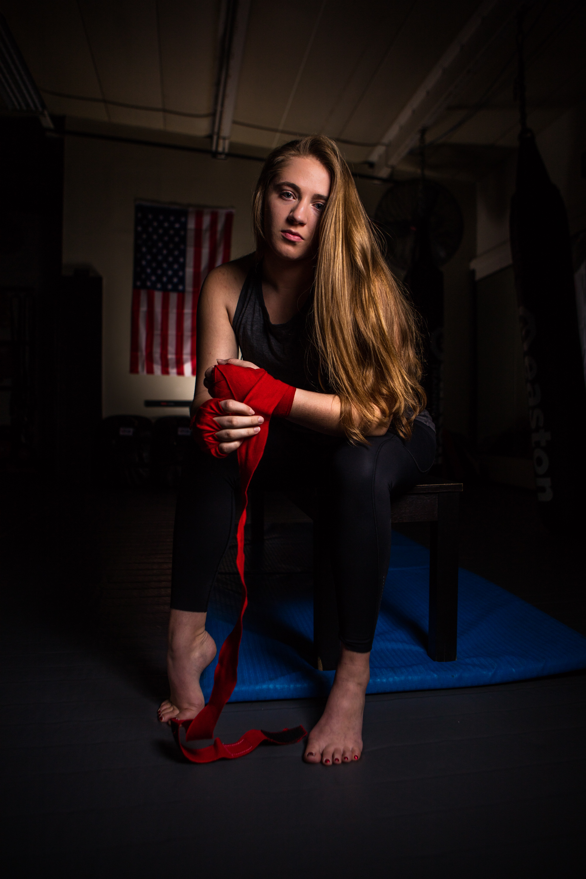 Portrait of Muay Thai kickboxer at Easton gym in Boulder, Colorado.