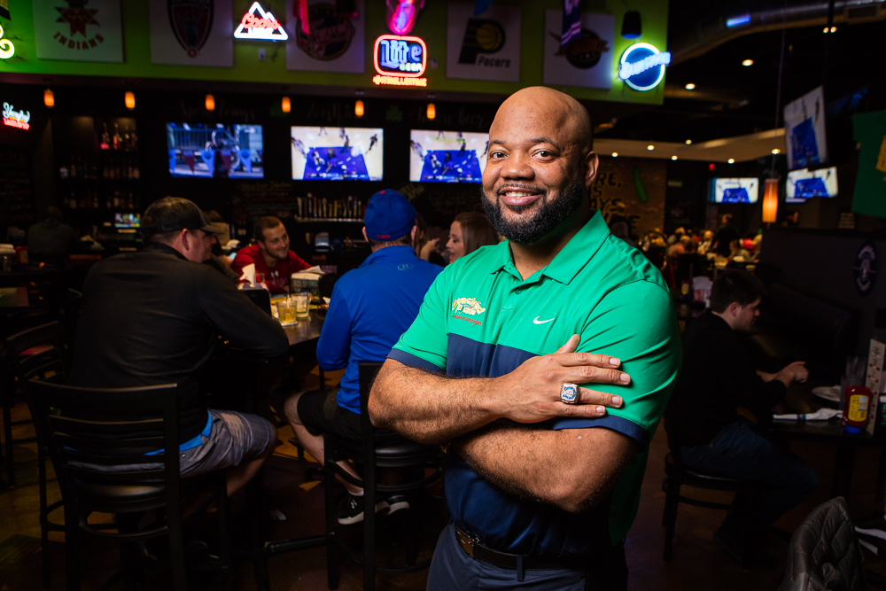 Environmental portrait of NFL player Gary Brackett in his Stacked Pickle in Indianapolis.