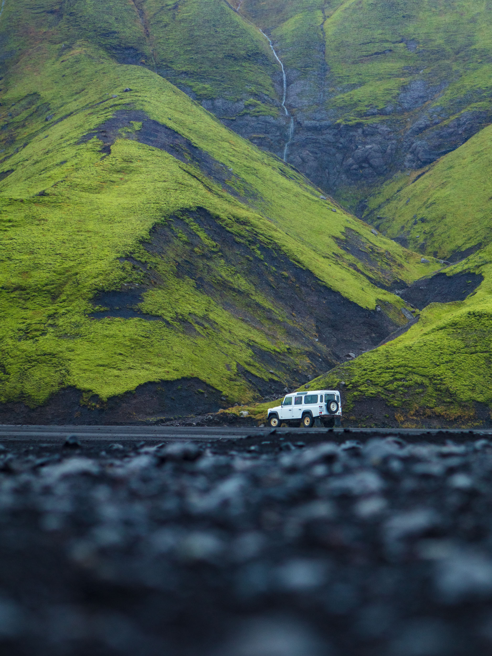 Land Rover Defender near Maelifell in Iceland