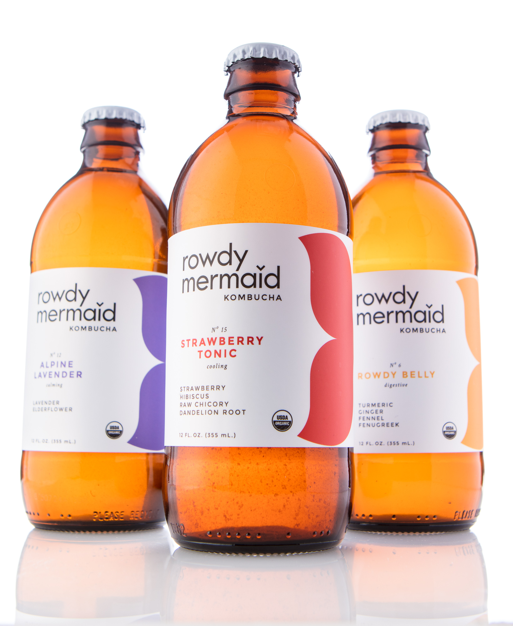 Rowdy Mermaid Kombucha beverage product photo on white background