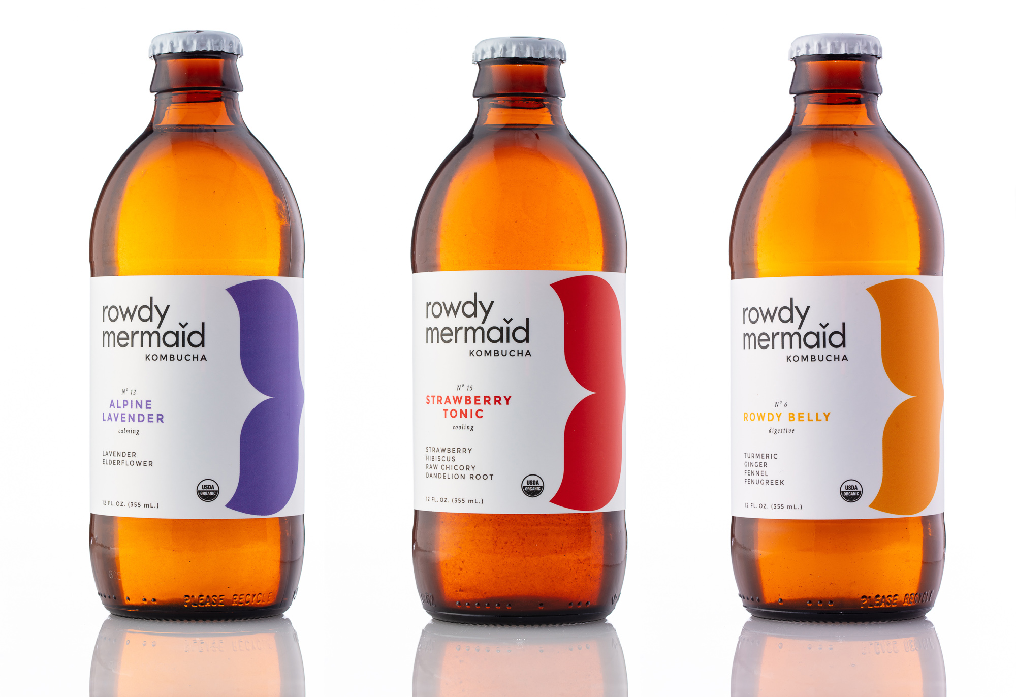 Rowdy Mermaid Kombucha beverage product photography in Boulder on white background.