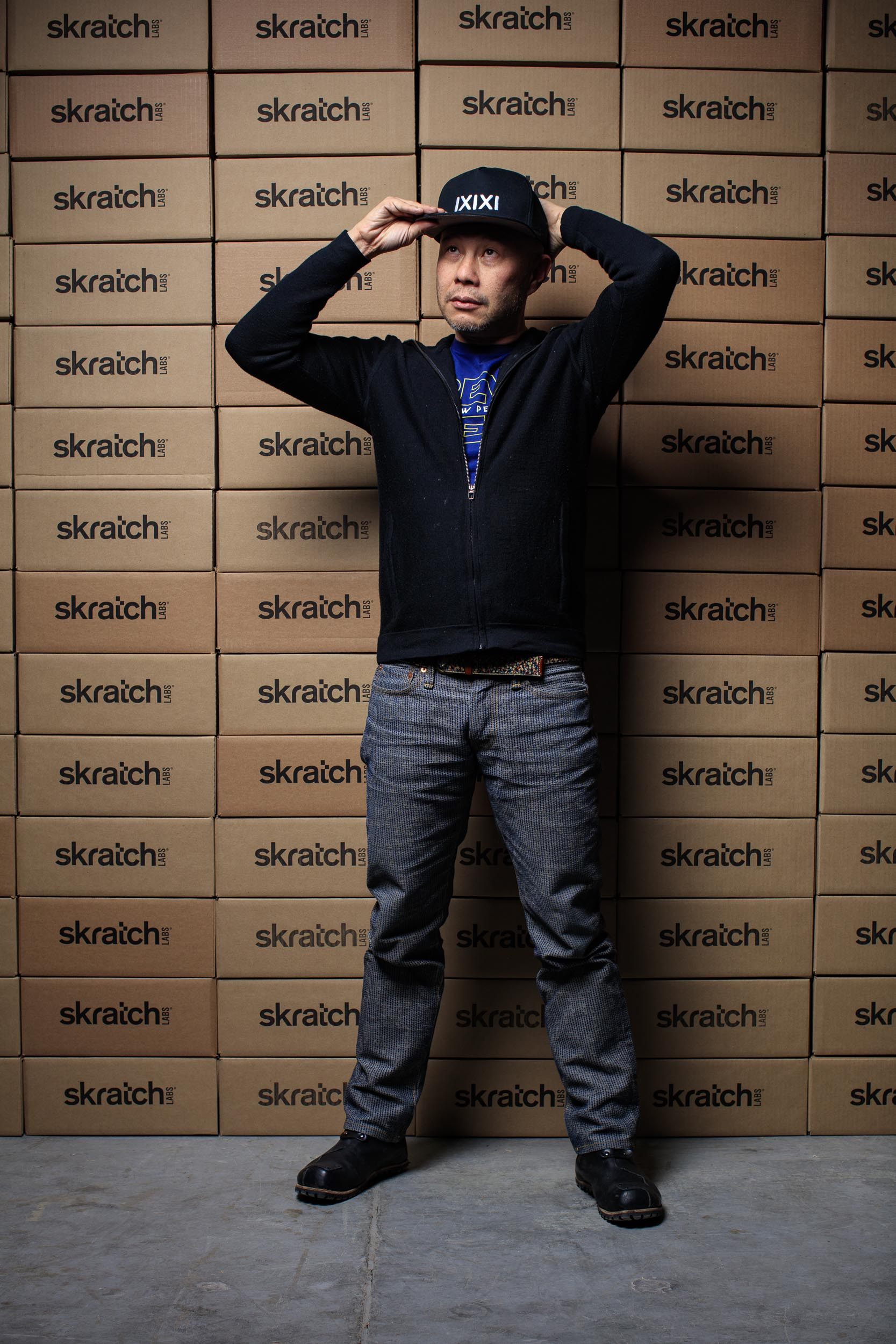 Allen Lim of Skratch Labs on an environmental editorial portrait in Boulder, Colorado.