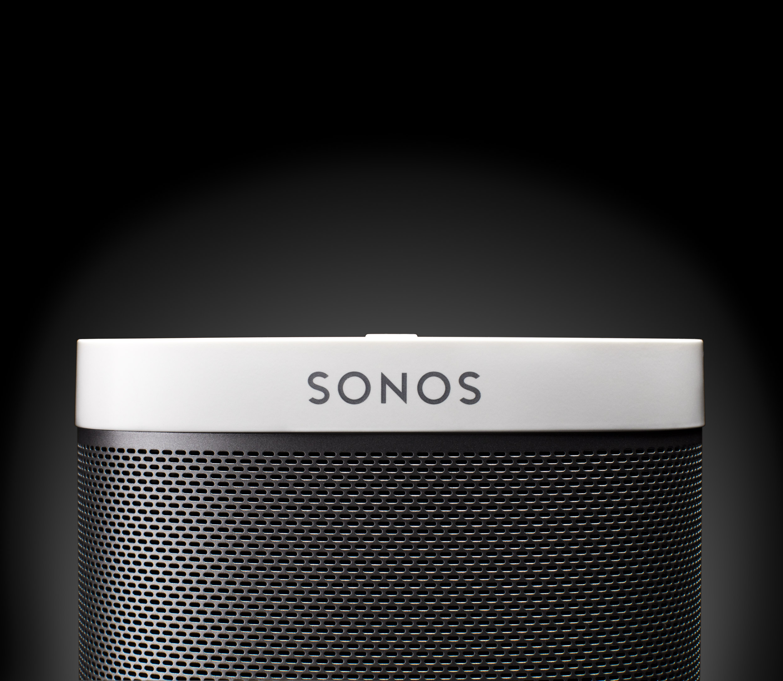 Studio Product Photo of a Sonos play on black background in Boulder, Colorado.