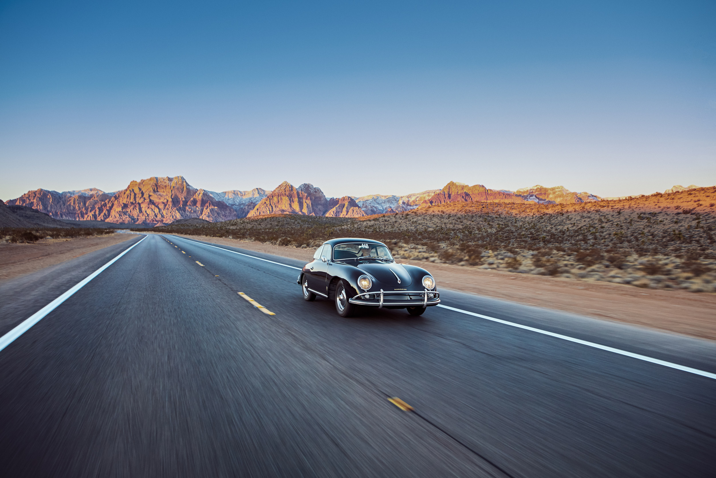 Vintage Porsche 1600 Driving in Red Rocks Nevada