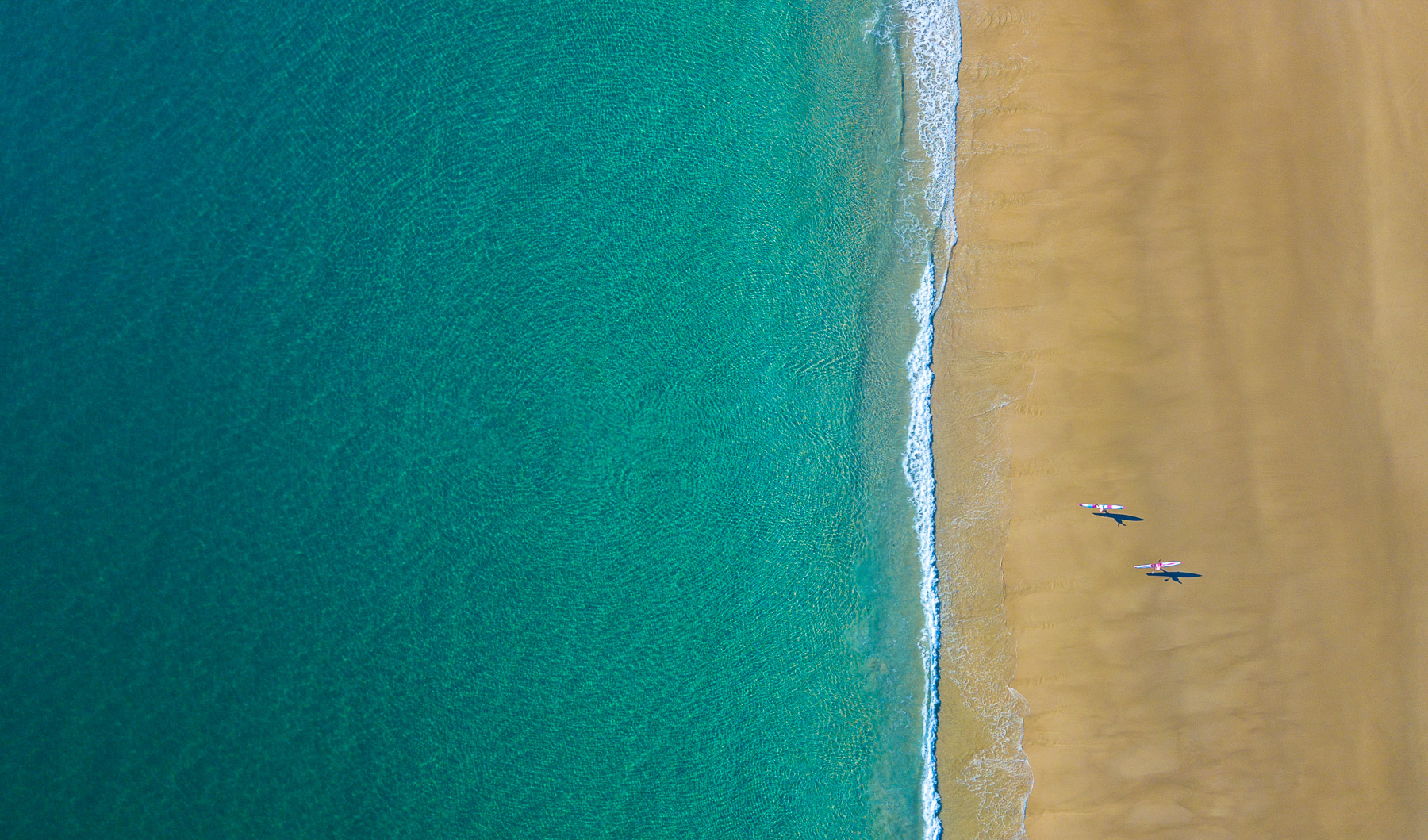 Aerial drone active lifestyle photo of two surfers walking into the water in Byron Bay, Australia.