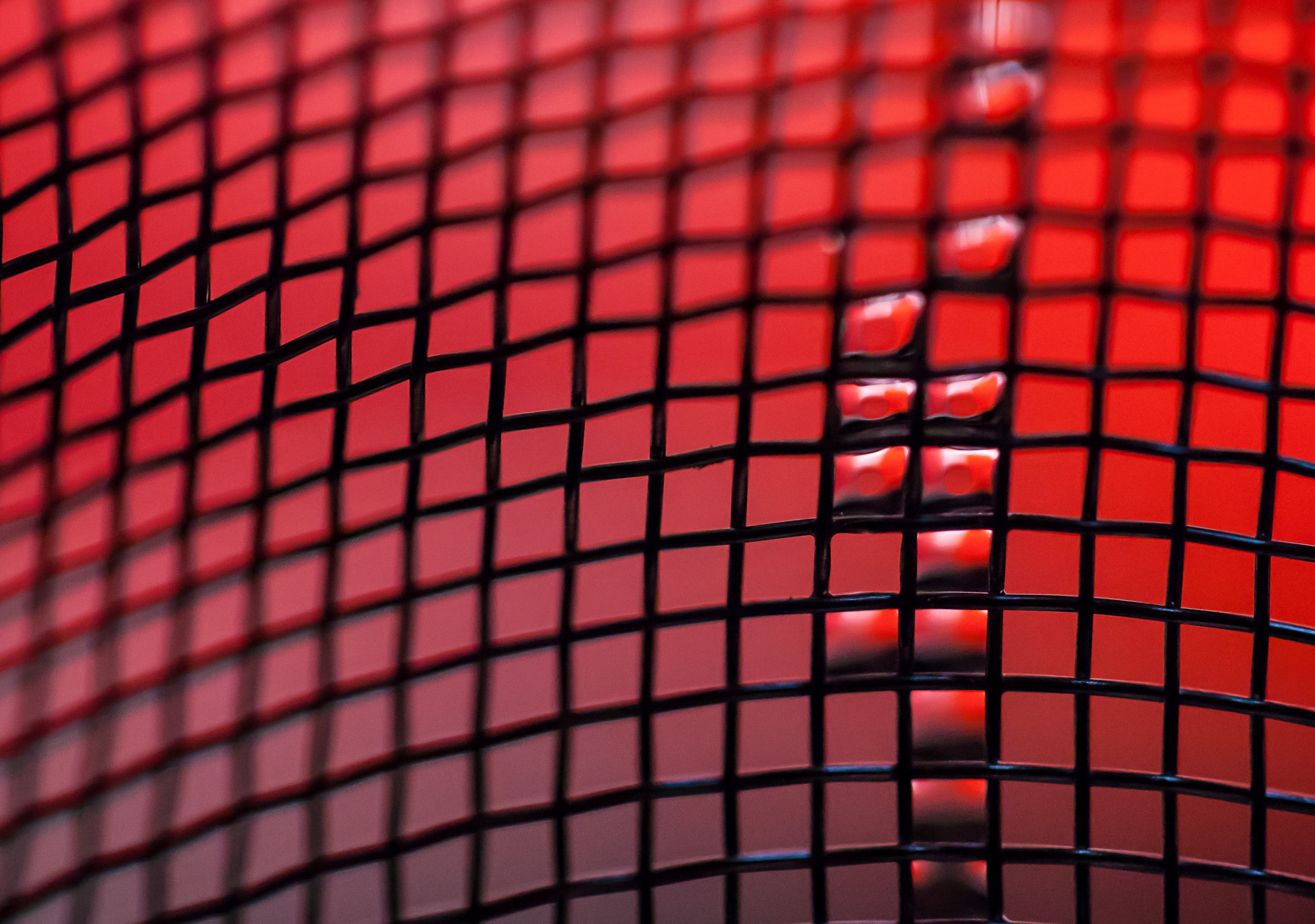 Macro Fine Art Photo of water refracting red on a mesh grid.