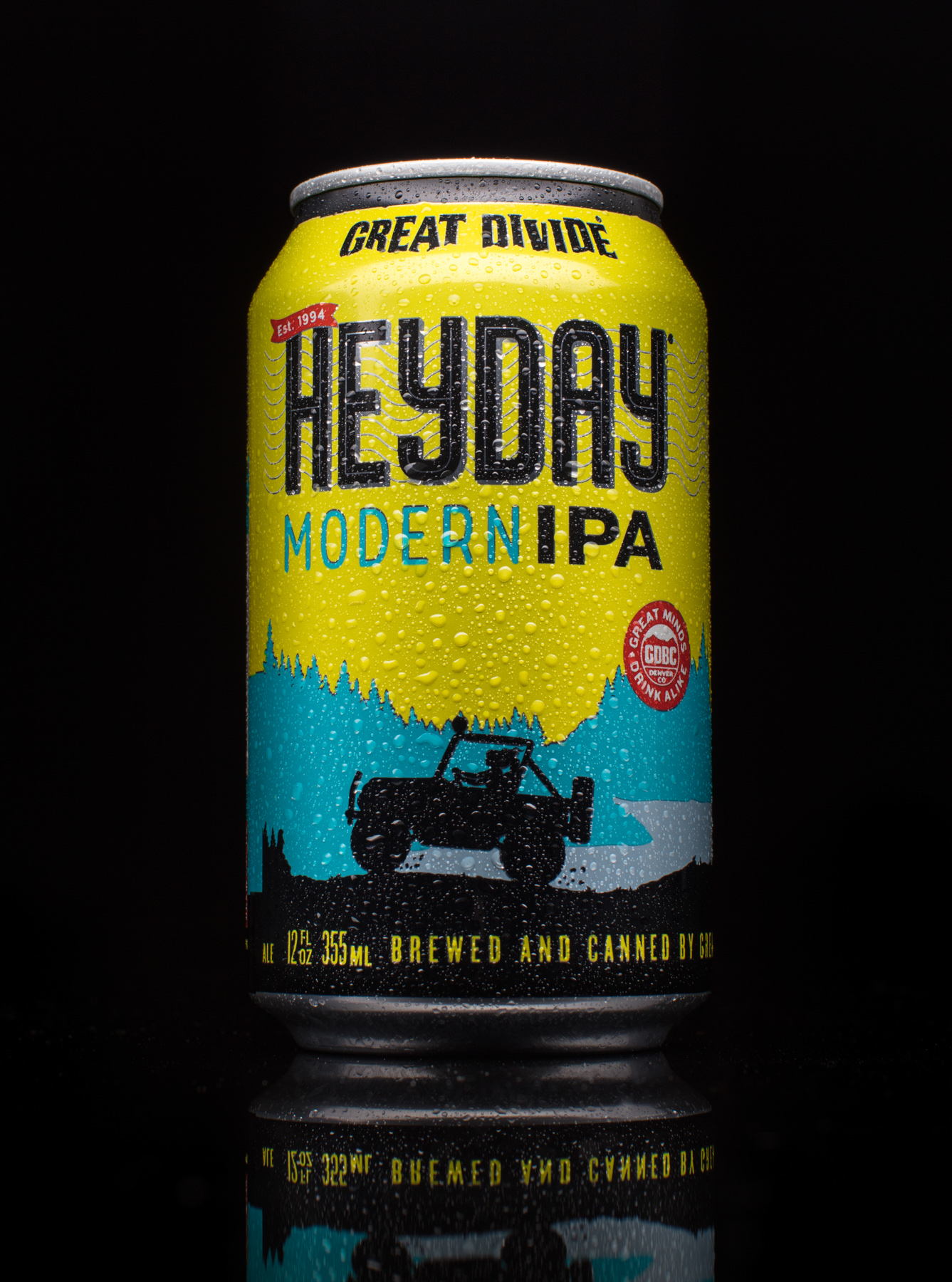 Product photo of Heyday IPA craft beer with condensation on black from Great Divide Brewing in Boulder, Colorado.
