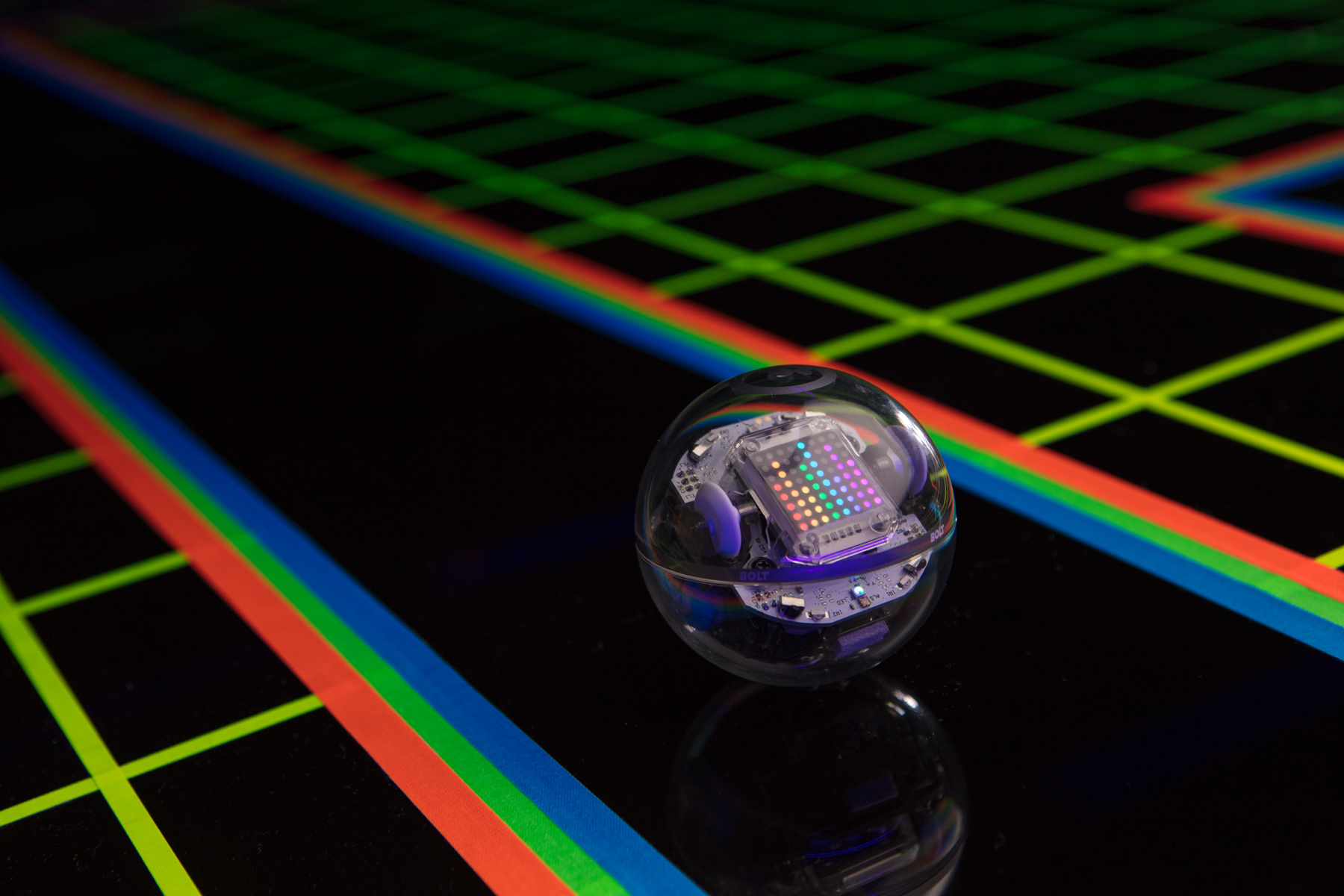 Product photo of BOLT robotic ball by Sphero in black Tron type set.