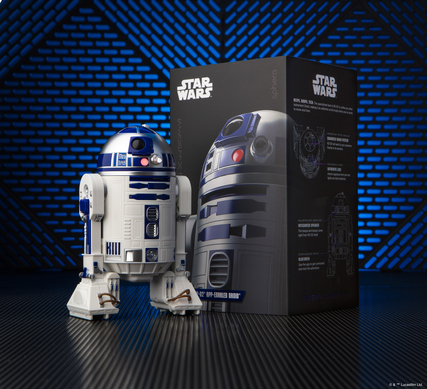 Sphero R2-D2 Star Wars toy and packaging with blue background.